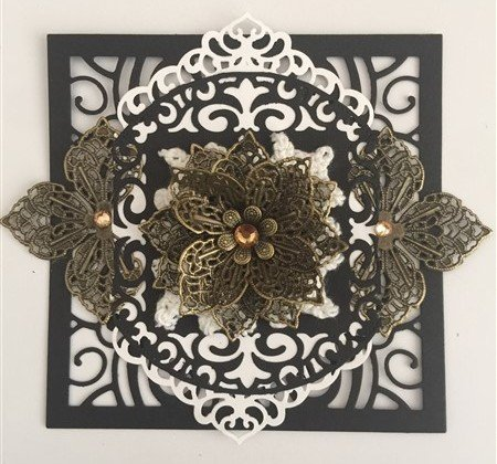 bronze black and white filigree scrapbooking embellishment