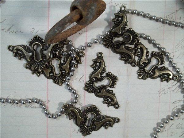 antique bronze decorative keyholes