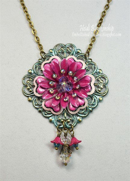 pink flower filigree necklace