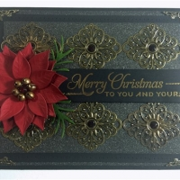 black and bronze poinsettia christmas card