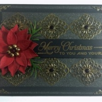 black and bronze poinsettia christmas card