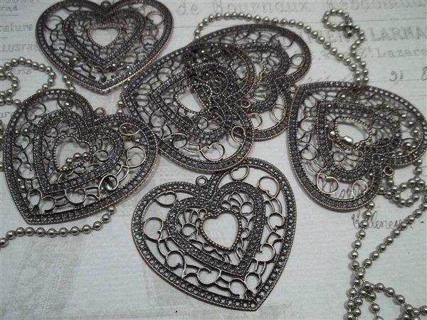copper heart metal filigree embellishments