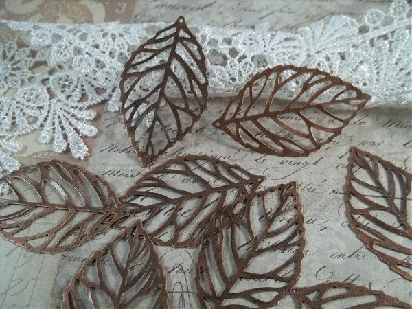 copper skeleton leaf metal filigree embellishments