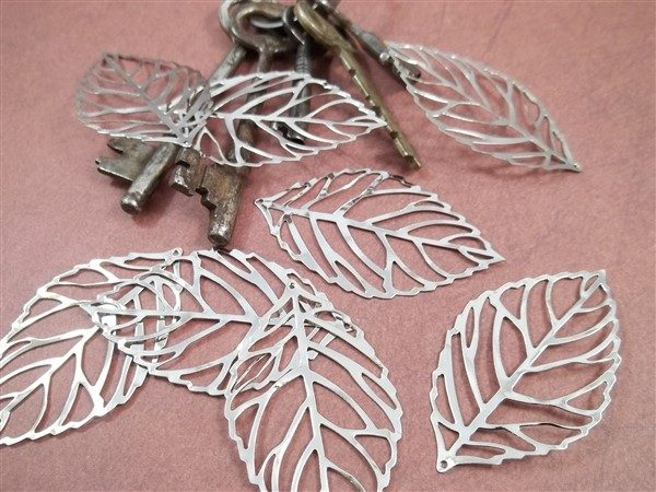 silver skeleton leaf metal filigree embellishments