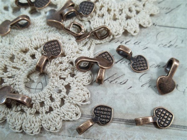 copper glue-on jewelry bails