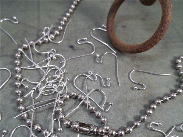 silver shepard hook earring wires
