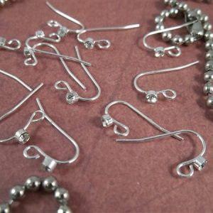 silver Shepard hook earring wires with rhinestones