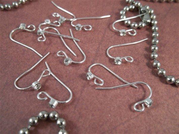 silver Shepard hook earring wires with rhinestones