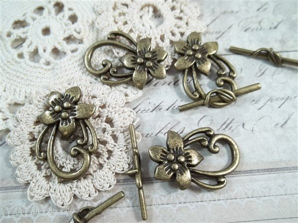 bronze floral toggle clasps