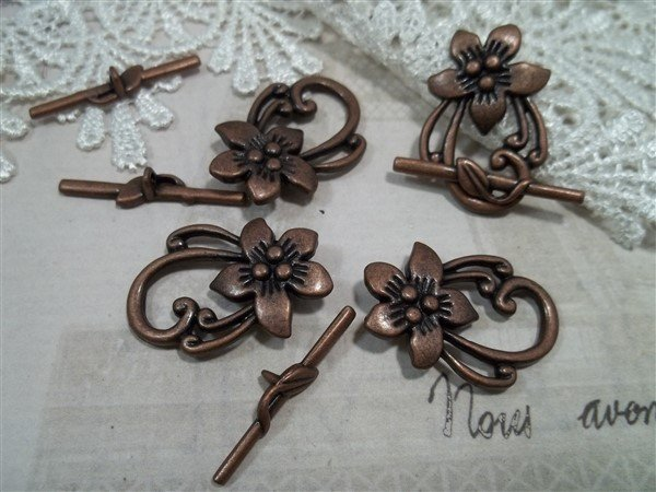 copper floral toggle clasps