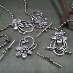 antique silver floral toggle clasps