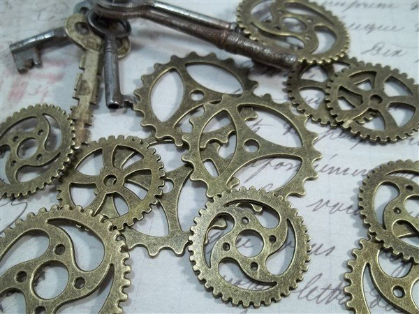 large bronze gear charms