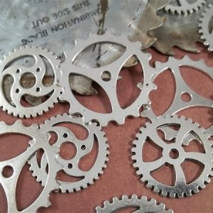 large silver gear charms