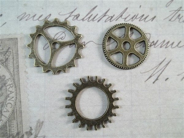 small bronze gear charms
