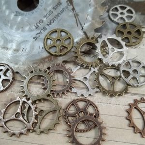 small silver copper and bronze gear charms