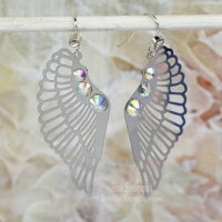 silver sparkle wing earrings