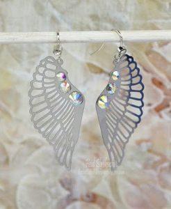 silver sparkle wing earrings