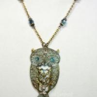 Blue Patina Athena Filigree Owl Necklace