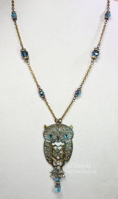 Blue Patina Athena Filigree Owl Necklace