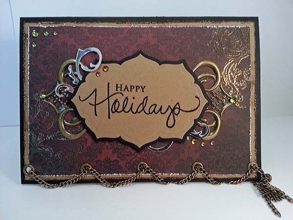 Red Vintage Happy Holidays Christmas Card