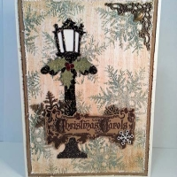 Blue and White Holiday Lamppost Christmas Card