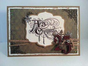 Green Vintage Joyous Christmas Card