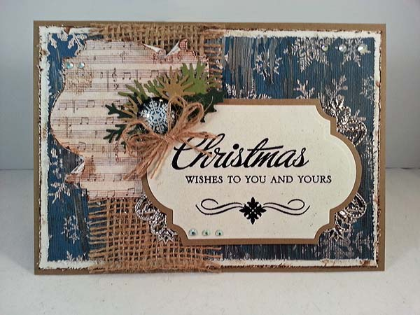 blue and burlap vintage christmas card