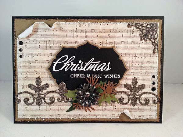 music sheet neutral christmas card