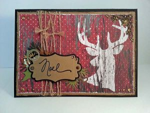Rustic Red and White Reindeer Christmas Card
