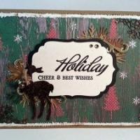 vintage green reindeer christmas card