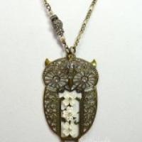 White Athena Filigree Owl Necklace