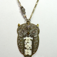 White Athena Filigree Owl Necklace