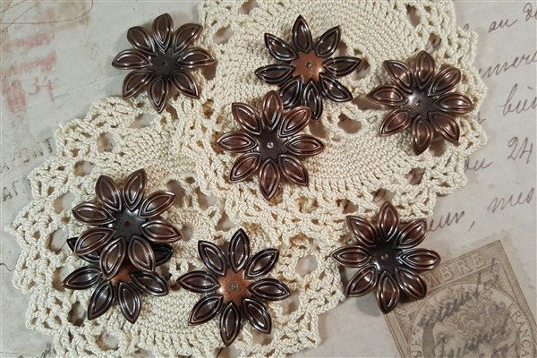 copper flower metal filigree embellishments
