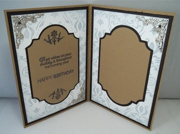 white and grey handmade birthday or wedding card