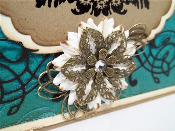 teal vintage handmade birthday card