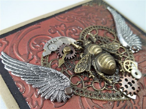 steampunk bronze silver and red valentine's card