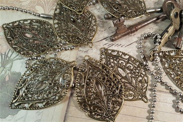 bronze leaf metal filigree embellishments