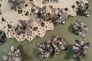 silver dimensional metal filigree embellishments