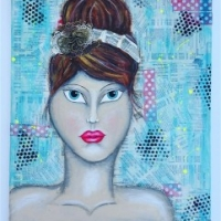 mixed media portrait canvas by keri sallee