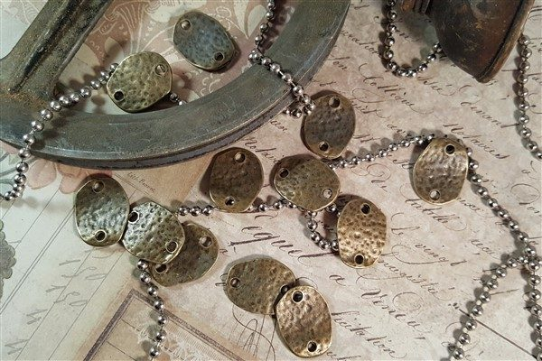 bronze hammered jewelry connector links