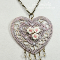 Pink and Bronze Heart and Roses Necklace