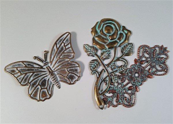 metal filigrees shabbified using acrylic paint