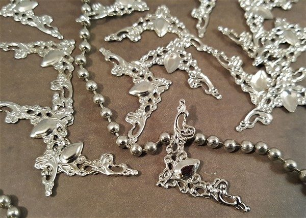 silver corner metal filigree embellishment