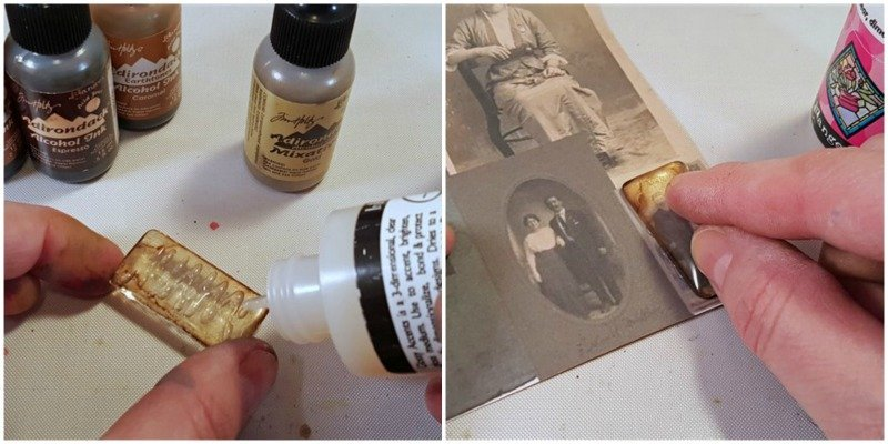 tutorial - alcohol ink - vintage photo