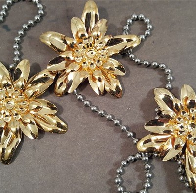 dimensional gold flower metal filigree embellishments
