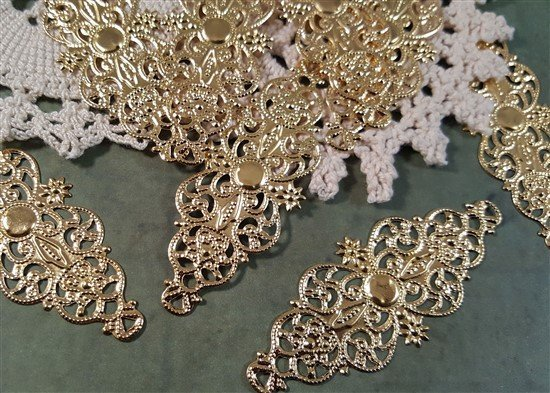 gold metal filigree embellishment