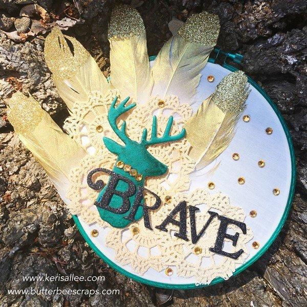 brave altered ebroidery hoop