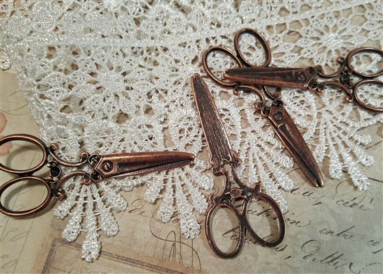 large copper scissor charms