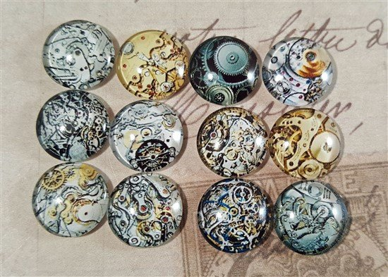 mini glass watch mechanism cabochons