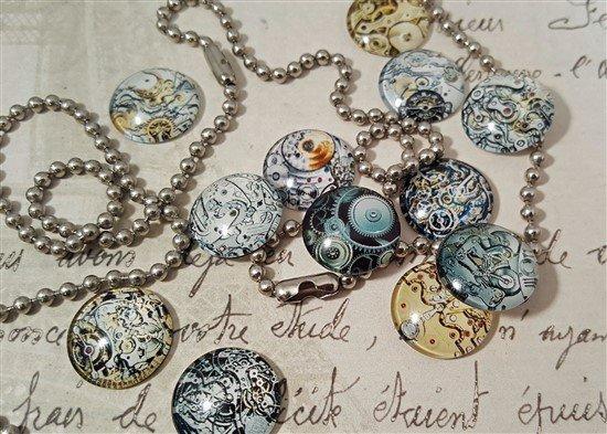small glass watch mechanism cabochons